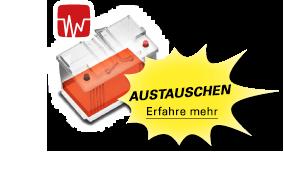 Eine rote Batterie bedeutet, dass die Batterie ausgetauscht werden muss