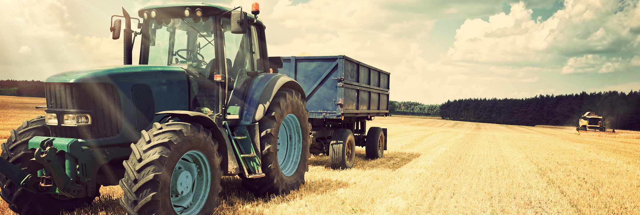Blue tractor with a trailer standing on a field