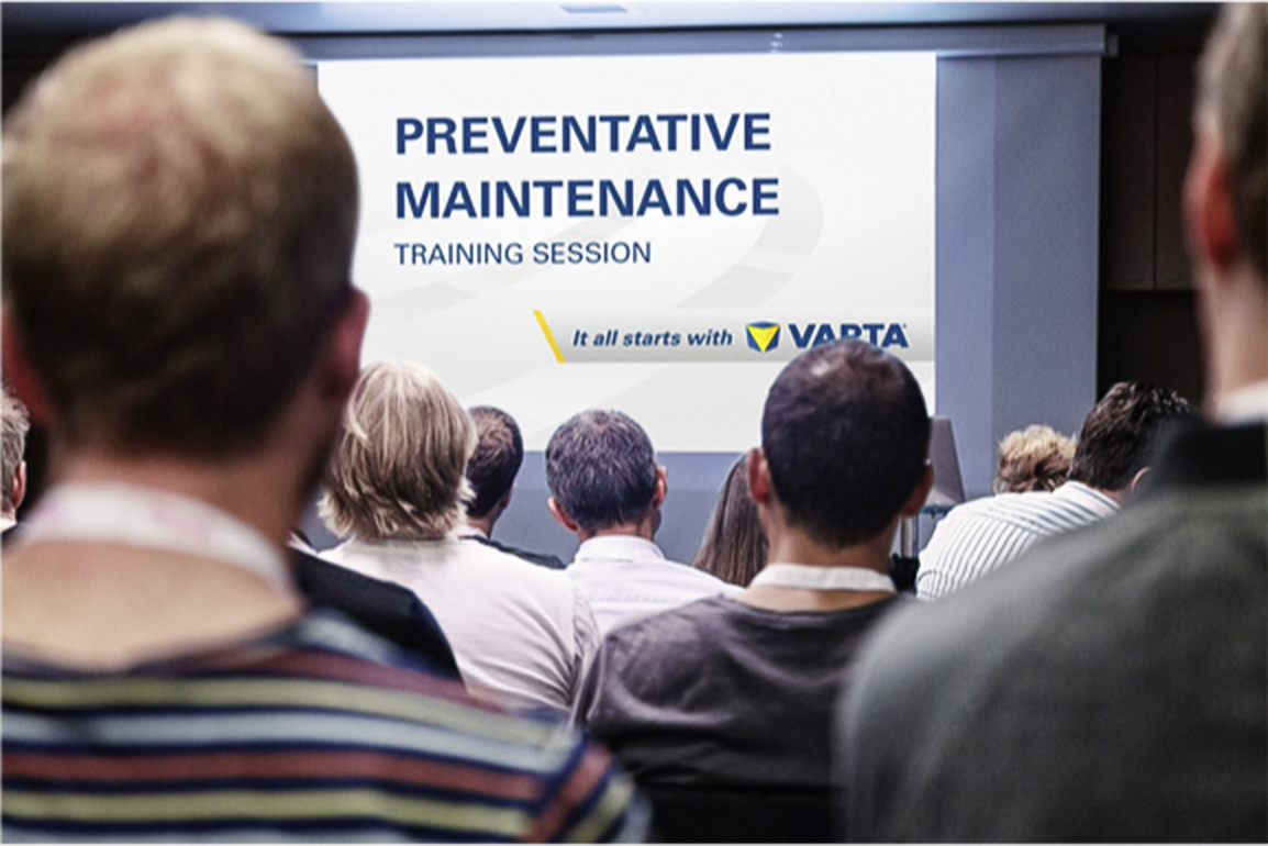 Slide about tranings from VARTA® eg. Preventative maintenance