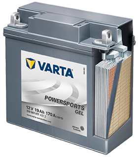 The detailed cutaway of a gel VARTA® battery