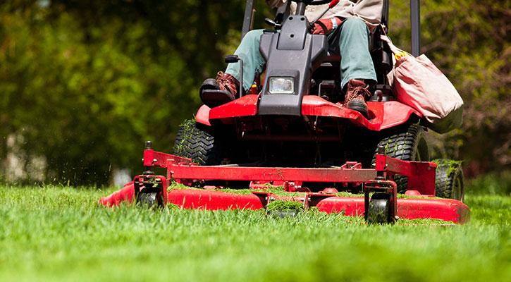 En man klipper det gröna gräset med en röd åkgräsklippare